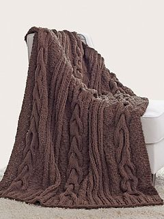 Ravelry: Horseshoe Cable Blanket (Couverture Torsades Fer à Cheval) pattern by Bernat Design Studio