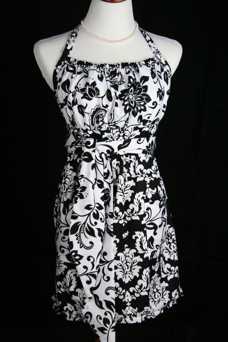 White apron austin - Damask Apron Black And White Apron