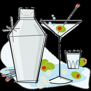 Cocktail shaker and martini bar art.  Coctel y un servicio perfecto. Malaparte Córdoba