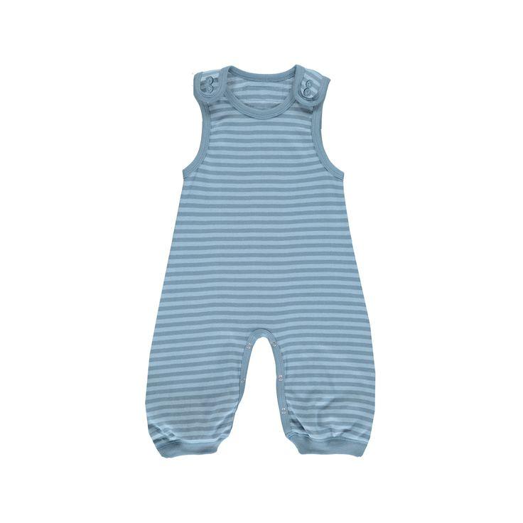 Okker-Gokker organic GOTS certified, made in India, 98% organic cotton, 2% elastane.  Dusty blue striped bodysuit with blue trim. $67.95 http://www.danskkids.com.au/collections/spring-summer-2015/products/okker-gokker-dusty-blue-stripe-overalls