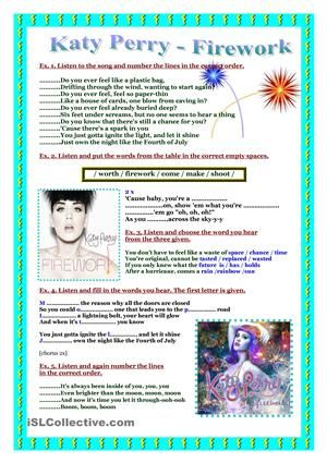 Song worksheet- Katy Perry- Firework