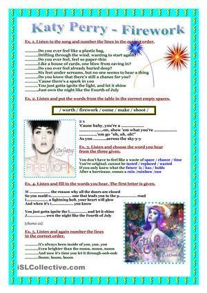 Song worksheet- Katy Perry- Firework