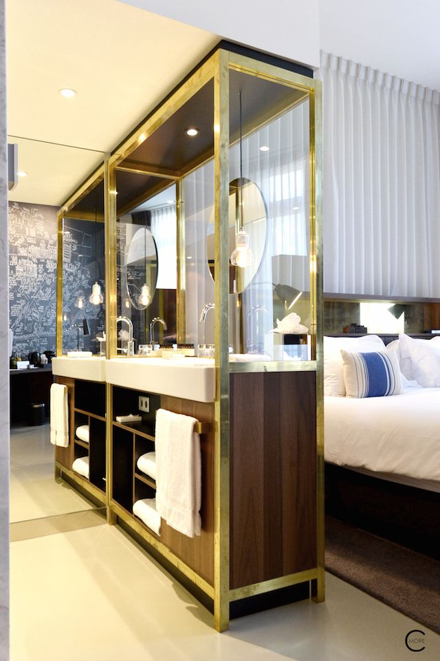 The Hotel room with big bed and brass gold walnut cabinet | Ink Hotel Amsterdam | Tried + Tested | Design Hotel | Boutique Hotel | Picture © By C-More