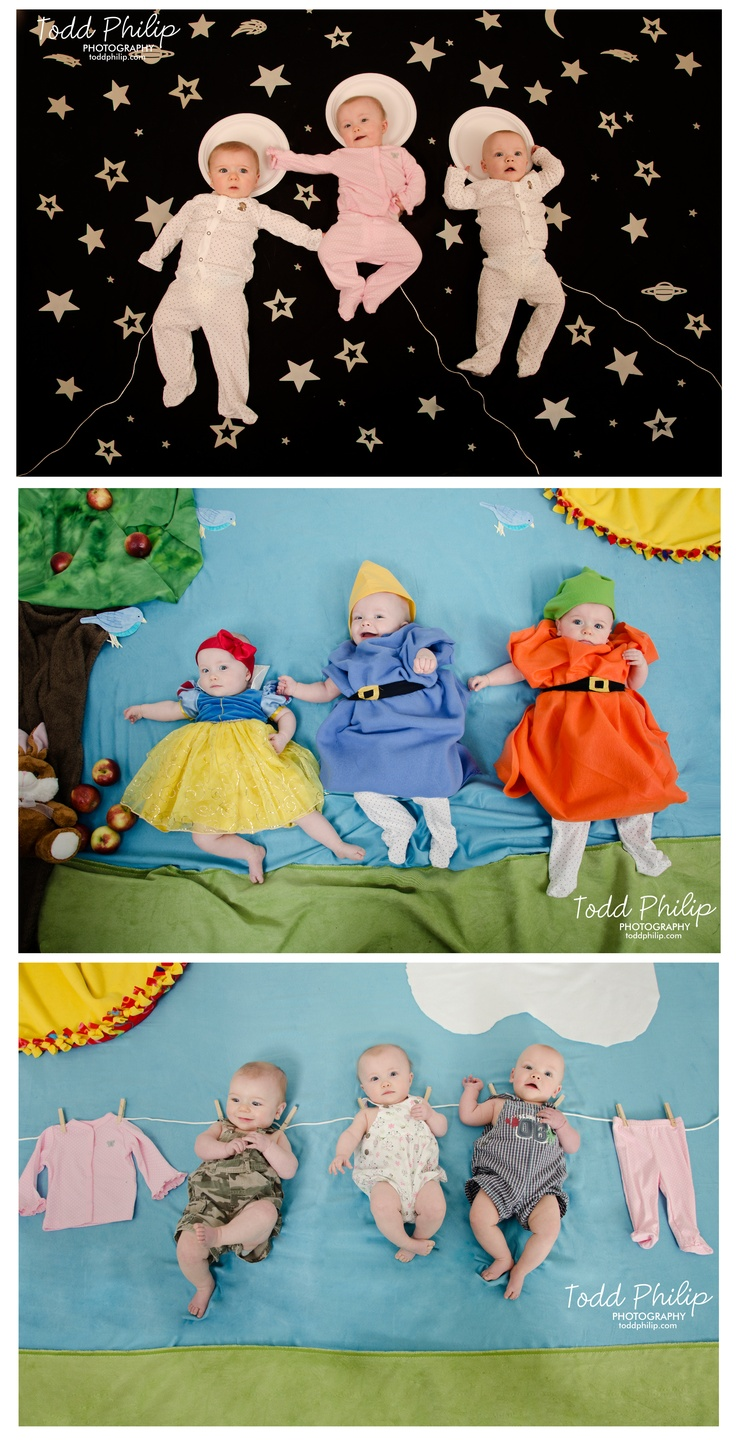 Imaginets! Inspired by Mila's Daydreams. tags: triplets, baby, babies, newborn, snow white, space, astronauts, clothesline, photography
