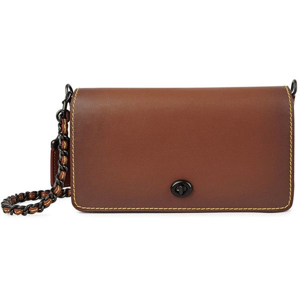 Coach Dinky Brown Leather Cross-body Bag ($480) ❤ liked on Polyvore featuring bags, handbags, shoulder bags, leather cross body purse, brown leather purse, leather crossbody handbags, coach purses and leather crossbody purse