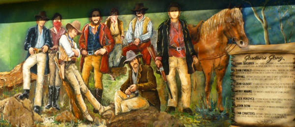 Frank Gardiner and his Bushranger gang, including Ben Hall in a mural at Eugowra. They committed Australia's most valuable robbery - the hold up at Escort Rock. #Sydney #Australia #travel