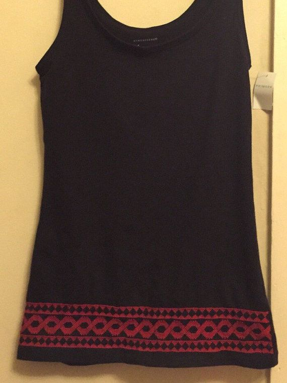 Black Vest with handmade Red Palestinian Embroidery / Cross Stitch
