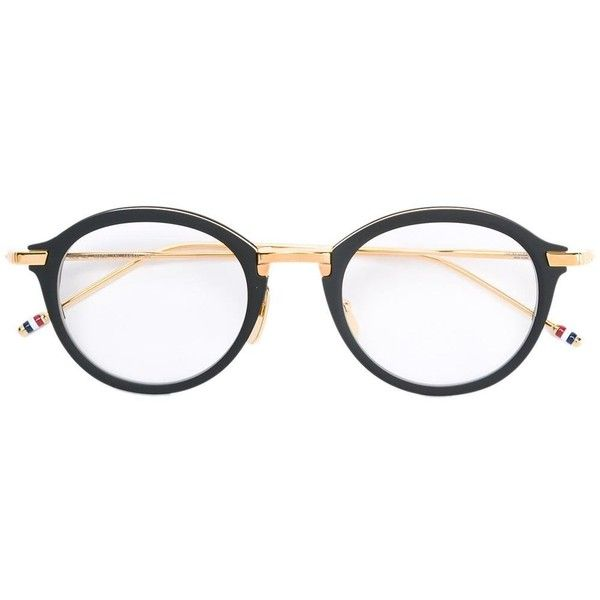 Thom Browne Eyewear round shaped glasses ($973) ❤ liked on Polyvore featuring accessories, eyewear, eyeglasses, grey, metallic glasses, round eye glasses, rounded glasses, round eyewear and round glasses