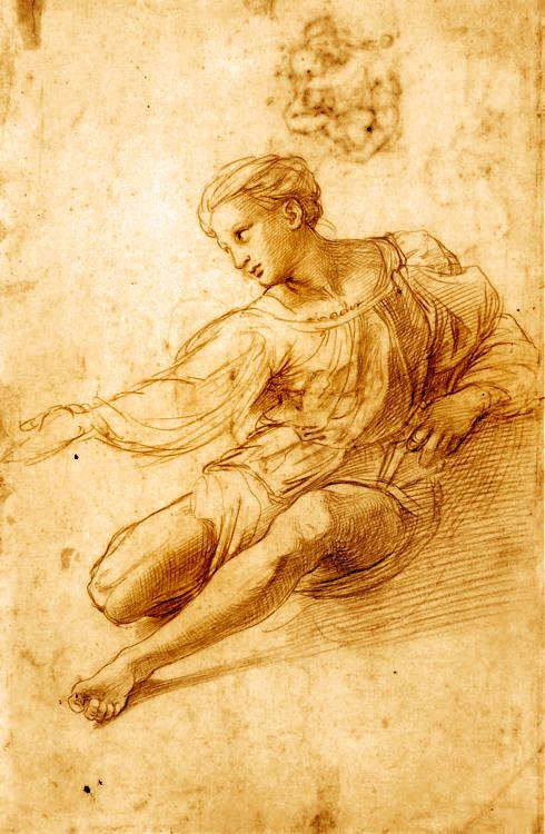 Raphael (Raffaello Sanzio da Urbino) ~ Study for the Madonna Alba, 1511 (chalk) #raphael #drawing