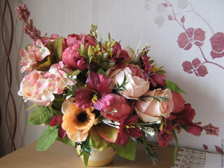 """Купить Интерьерная композиция """"Шармэль"""" - коралловые, бордовые оттенки, искусственные цветы, пионы, розы, альстромерия"""