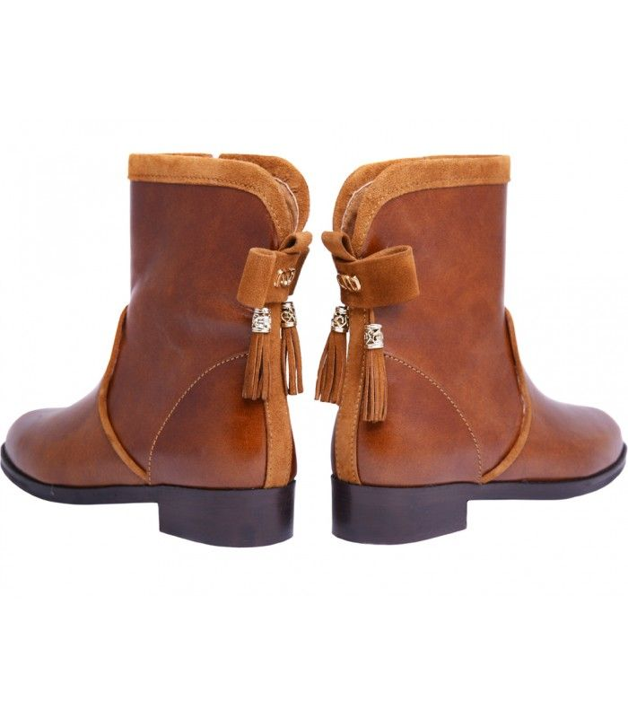 LEATHER BOOTIES, WITH SUEDE DETAILS DESIGNER LOU GREAT BOW AT THE BACK AVAILABLE COLORS:BLACK TAN BROWN