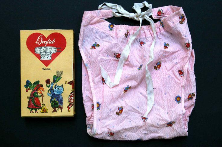 Herzlieb Wickel für Babys Gr. 4, Kräuselkrepp rosa, um 1970, ungetragen