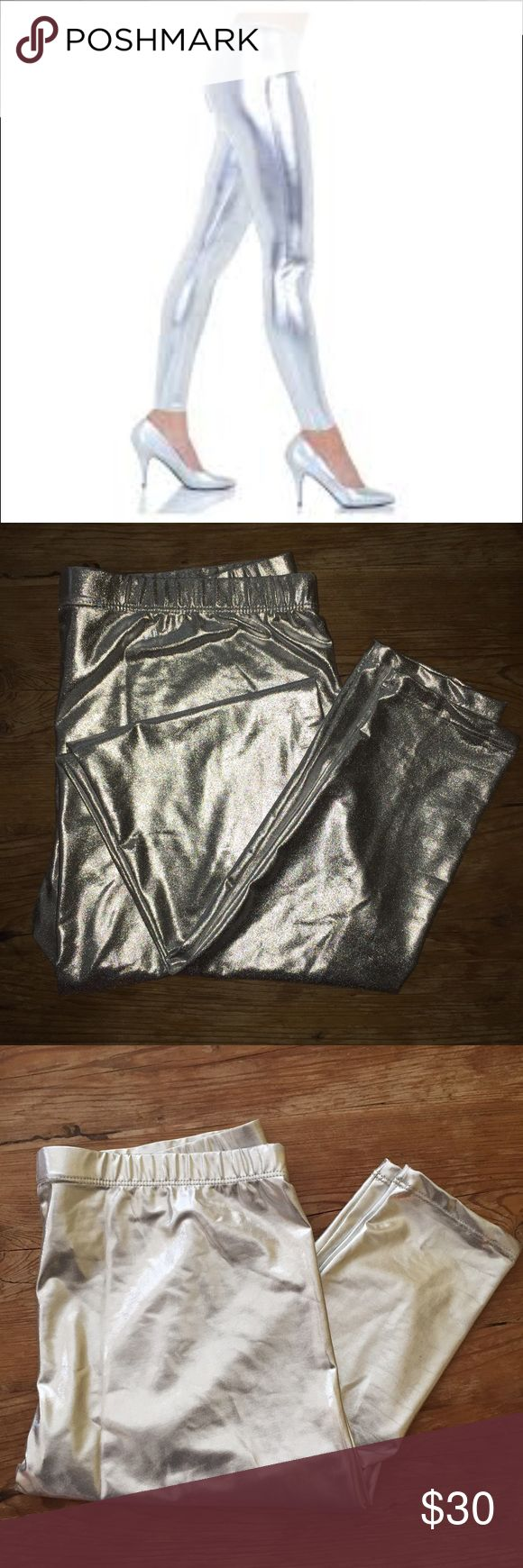 Metallic Silver Leggings Metallic silver leggings. NWOT. Labeled size XL, fits more like a Large. Pants Leggings