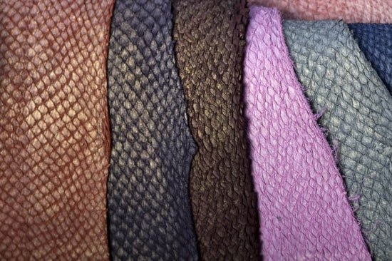 Fish leather : salmon (light metal finish)