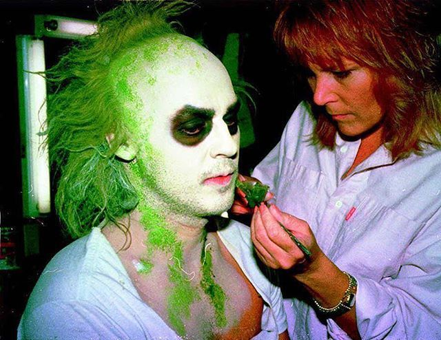 Michael Keaton being made up for Beetlejuice. 1988. #beetlejuice #michaelkeaton #horrorfilm #classichorror #horrorclassic #vintagehorror #horror #oldhorror