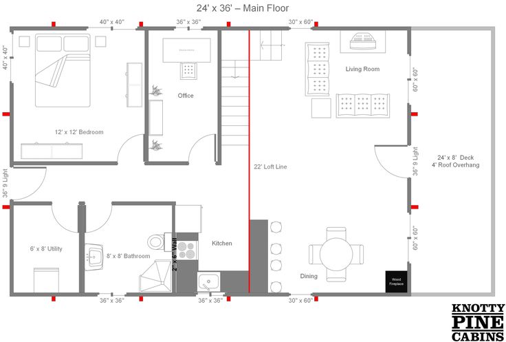 24 x 36 cabin plans with loft bing images cabin for 24x36 floor plans