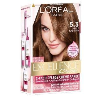 L'Oréal Paris Excellence Crème 5.3 Licht Goudbruin geeft 100% grijsdekking, versterkt en beschermt het haar met een rijke en levendige kleur.