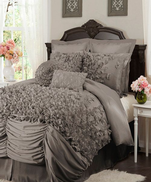 Take a look at the Gray Lucia Comforter Set , beautiful  and under 100.00 !!! A dupe for The athro set that costs 600.00