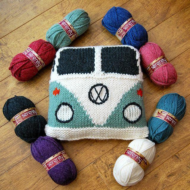 Cushion based on the VW  Campervan pattern by Tracy Harrison (SnuginaDub)