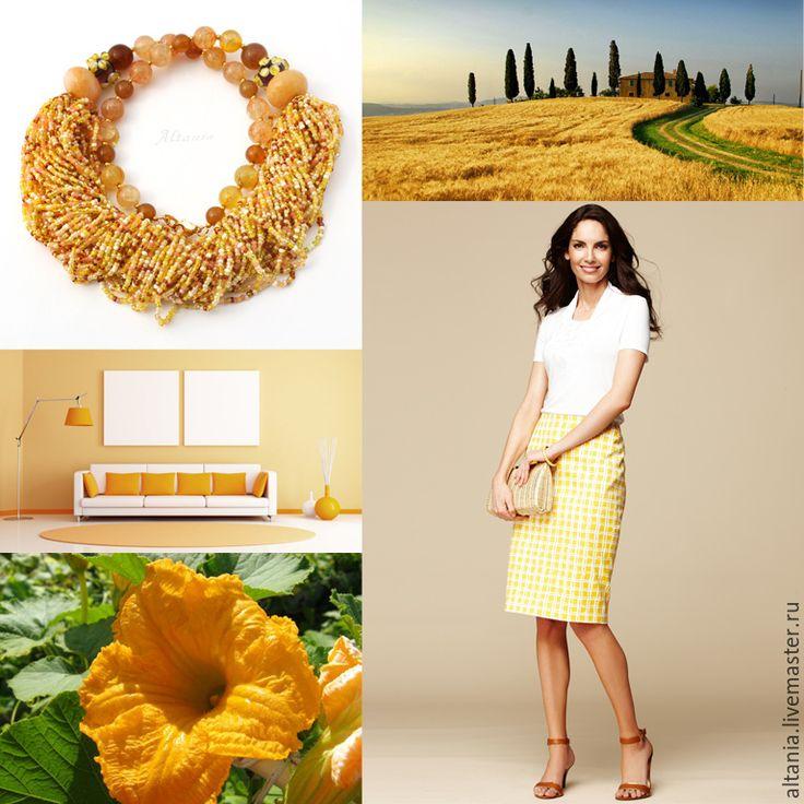 Купить Цветок тыквы - колье - украшение из бисера, бижутерия из бисера, колье с камнями, массивное украшение