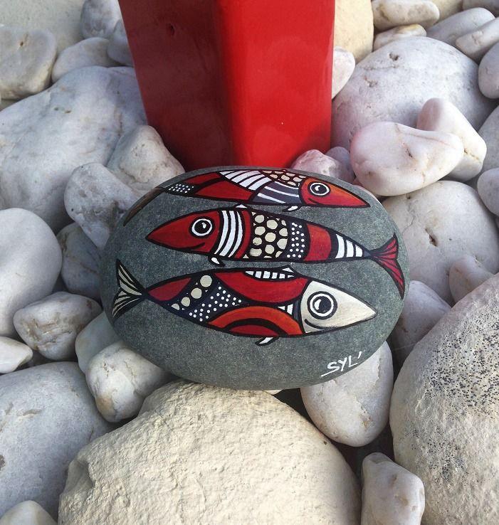 """""""Les 3 sardines""""... Peinture sur galet"""