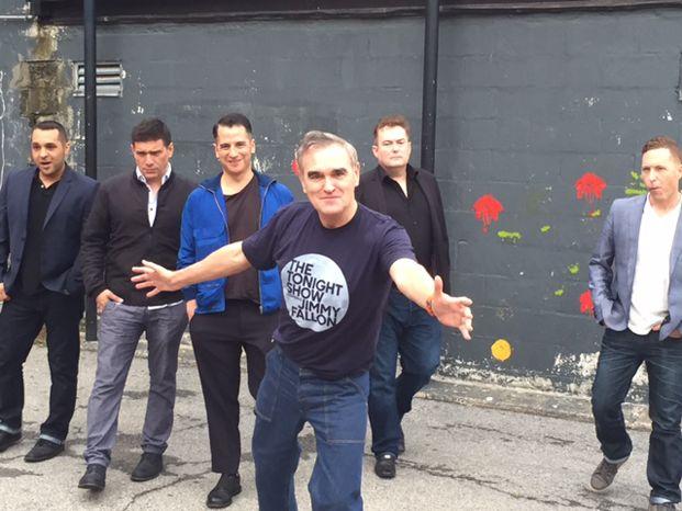 Morrissey and band (Gustavo Manzur, Mando Lopez, Jesse Tobias, Boz Boorer and Matthew Ira Walker) in New York City, June 2015 ― photo by Damon Anacreonte.