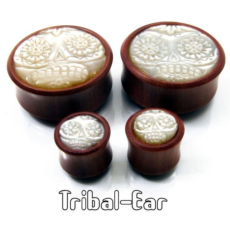 Tribal Ear Plug Sugar Skull Nacre Wood Piercing Plugs Oreille Bois Gauges Tunnel