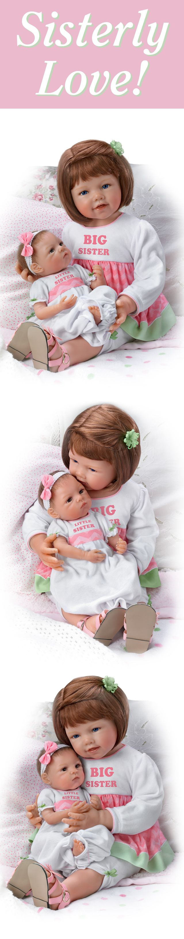 "Celebrate sisterly love with this limited-edition lifelike baby doll set by Master Doll Artist Waltraud Hanl! This exclusive Signature Edition doll set arrives with an adorable 7-piece ensemble which includes their ""Big Sister"" and ""Little Sister"" ensembles! Shop Now!"