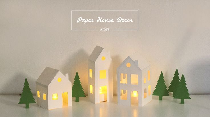 diy paper houses with free printable template. A sensibly simple way to get the holiday village glow without the ridiculous expense and wasted storage space