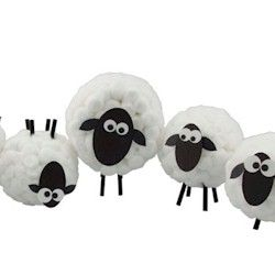 Cottonball Sheep Craft (newspaper, cotton balls and drinking straws)