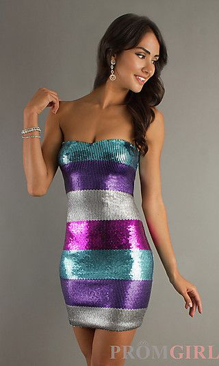 Short Strapless Multi-Color Striped Sequin Dress at PromGirl.com