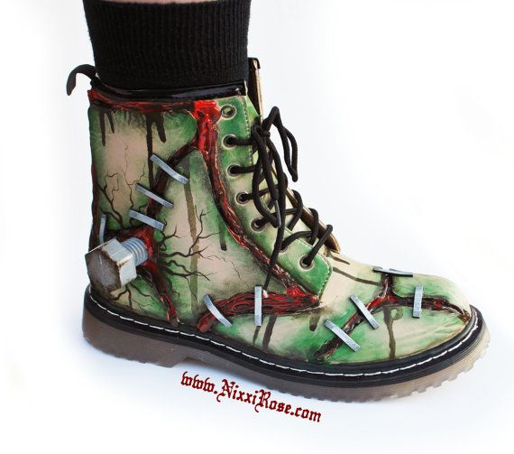 FRANKENBOOTS blood and stitches combat boots by NixxiRose on Etsy