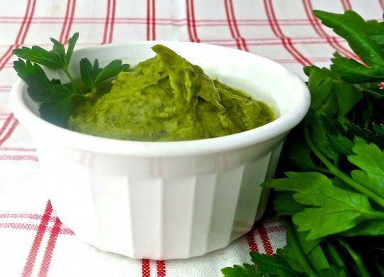 Green Mayo, Egg-free-Basil and herbs make this mayonnaise green!  Click the image for the recipe.