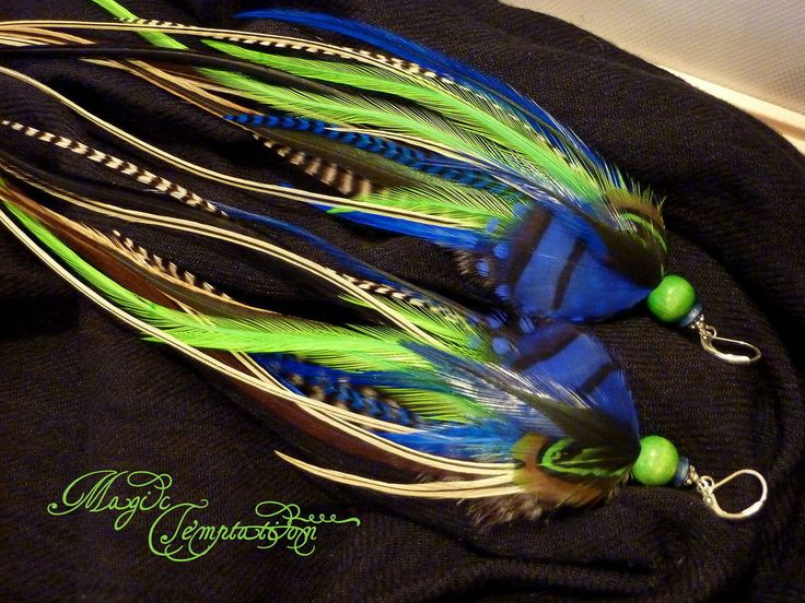 Buy Blue-green feather earrings - blue earrings, blue, green earrings Купить Сине-зеленые серьги из перьев - синие серьги, серьги синие, зеленые серьги