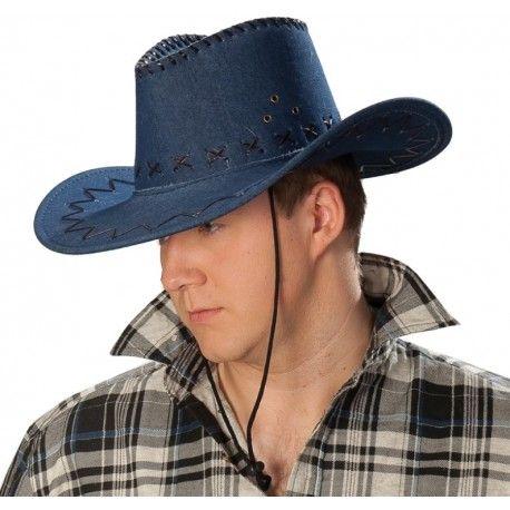 Chapeau cowboy bleu jean adulte
