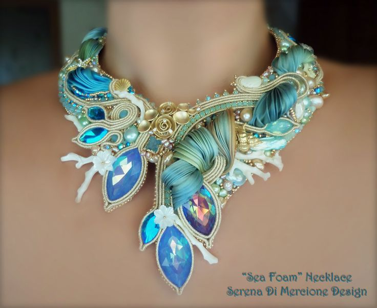 NECKLACE - Shibori silk, soutache. Designed by Serena Di Mercione