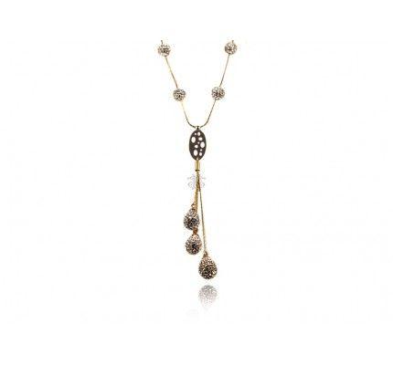 Κολιέ λευκόχρυσο και χρυσό με ζιργκόν #necklace #whitegold #gold #zircon #woman #classic