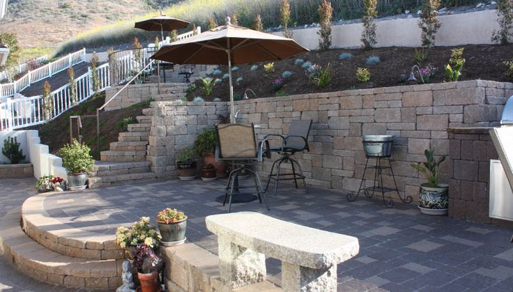 plants, mulch, patio chairs, umbrella, concrete bench, stairs, Back Yards, Sunken Patio, Slope above
