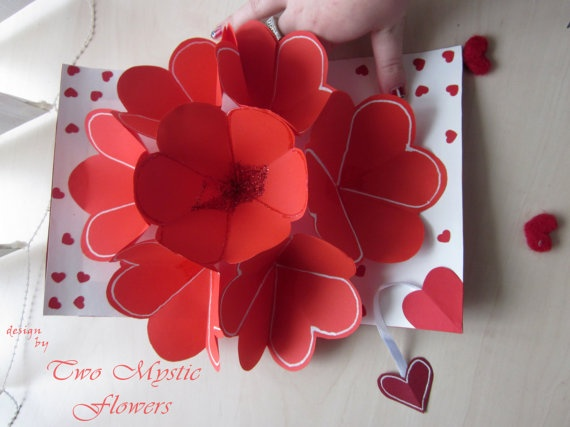 Valentine 39 s day pop up card be my valentine heart flower for Valentines day flowers for him