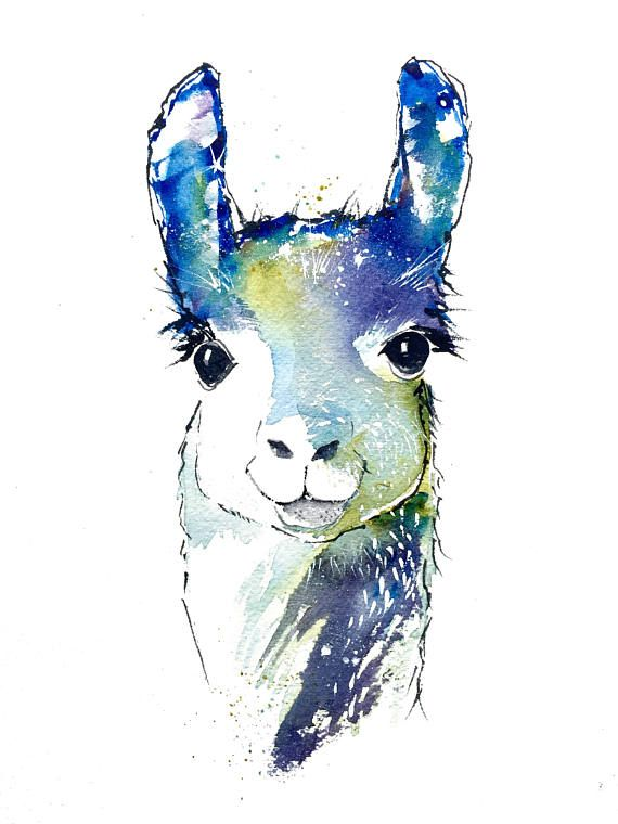 Llama Art, Llama Decor, Watercolor Animals, Art Print, Wall Decor, Animal Art, Kids Art, Farm Animal, Pamela Harnois, Commisions, Gifts
