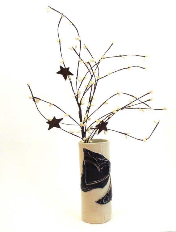 Black and White Vase Ceramic Vase Heart Vase Unique Vase