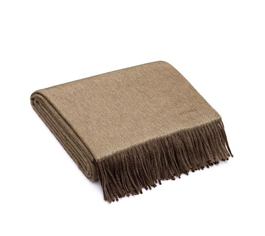 "Double Face Hermes blanket in brown/beige, double-sided cashmere (59"" x 79"")"