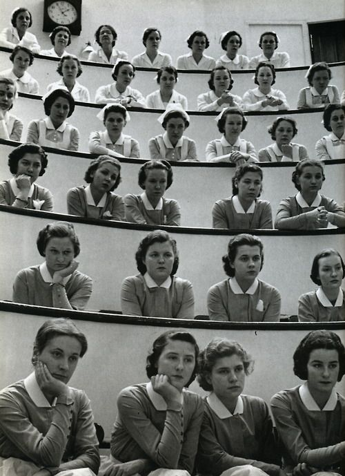 student nurses in the amphitheater, roosevelt hospital, new york city, 1938 • alfred eisenstaedt: Nursing School, Students, Vintage, Alfred Eisenstaedt, New York City, Photography, Hospitals