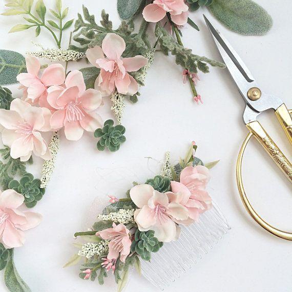 Blush Bridesmaids Comb- Blush Wedding Set- Succulent Comb Hair Accessories- Bridesmaids Gift- Blush Wedding- Decorative Hair Combs