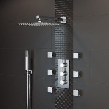 300mm Square Thermostatic Concealed Shower, 6 Body Jets Handheld [PT-SS3WCSQ03] - £369.99 : Platinum Taps & Bathrooms
