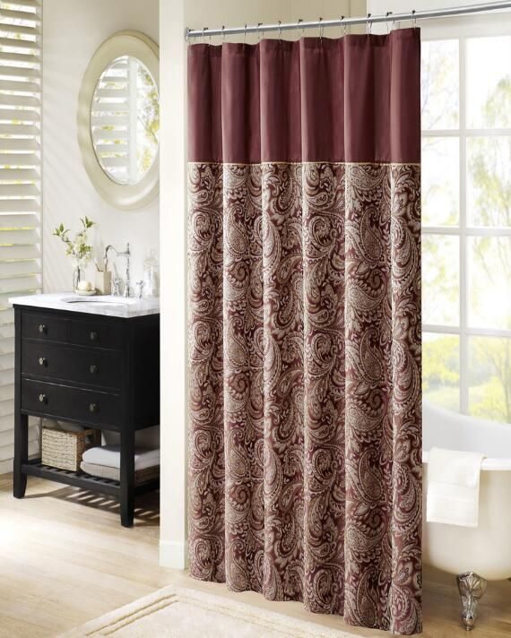 Wellington Jacquard Shower Curtain Paisley Shower Curtain