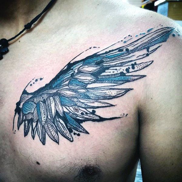 Blue Small Angel Wing Tattoos For Men