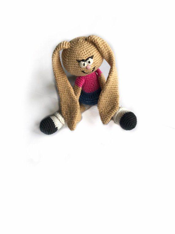 Knitted Bunny Brown Bunny Crochet Bunny Girl Bunny Cheerful Bunny Handmade Toys Knitted Rabbit Girl Rabbit Crochet Bunny Handmade Toys Knitted Hats Kids