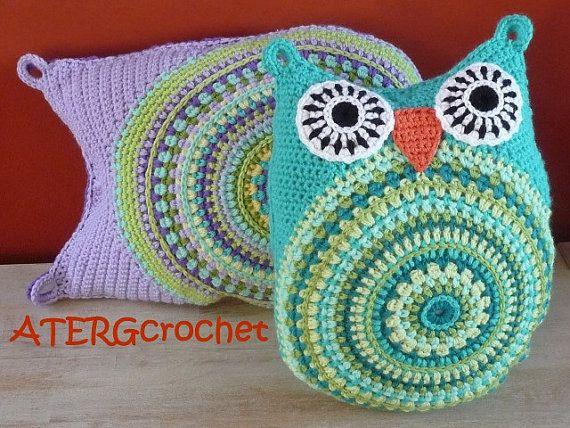 crochet pattern owl cushion by ATERGcrochet - 2 sizes -