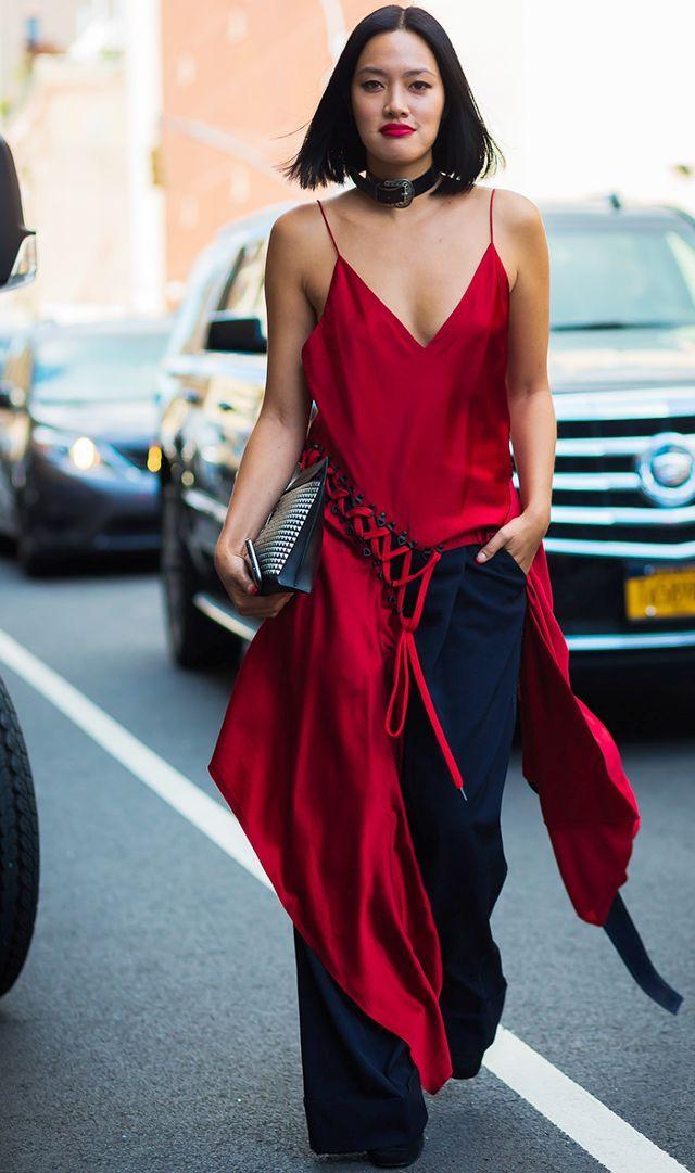 red silk tank dress red lips jeans street style
